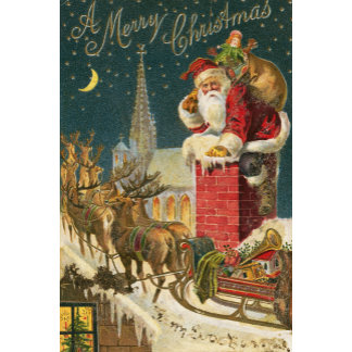 old world santa in chimney with sleigh