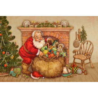 cute santa with toys by tree
