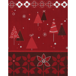 red christmas tree and flower pattern