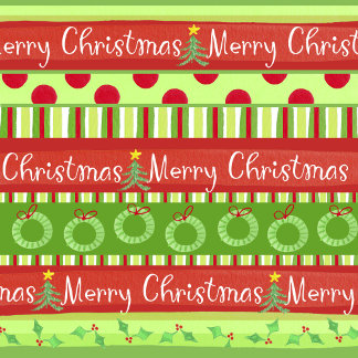 Merry Christmas pattern with holly and wreaths