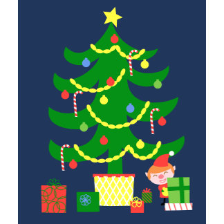 cute bright christmas tree with elf