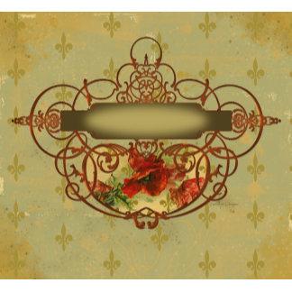 Poppy Scroll Banner Fleur de Lis French Style