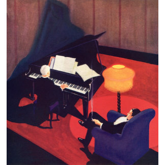 Art Deco Piano Player in Lounge