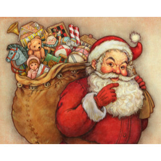 cute santa with toy bag