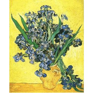 Blue irises in yellow background