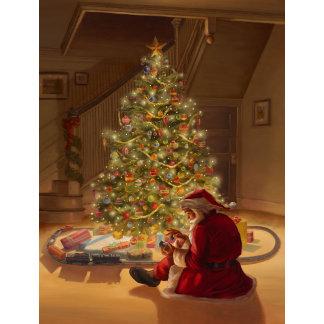 santa and train by Christmas tree