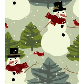 cute snowmen with cardinals and trees