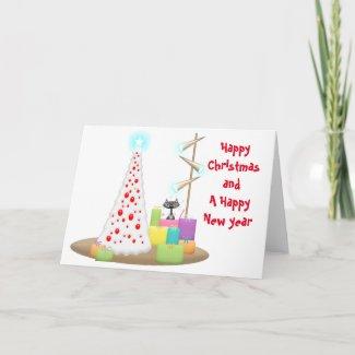 Black Cat Xmas Tree Folded Greeting Card