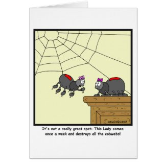 Cobwebs: Spider cartoon Greeting Card
