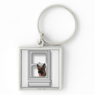 German Shepherd Looking Out Window Silver-Colored Square Key Ring