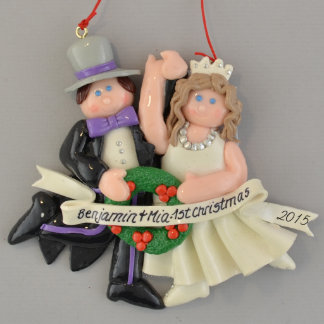 First Christmas Brunette Bride and Groom Ornament