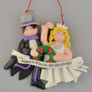 First Christmas Blonde Bride and Groom Ornament