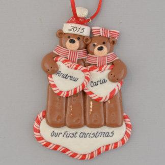 """Our First Christmas"" Bears Claydough Ornament"