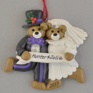 Just Married Bears Bride & Groom Wedding Ornament