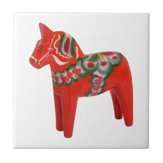 Swedish Dala Horse  Folk Art Small Square Tile