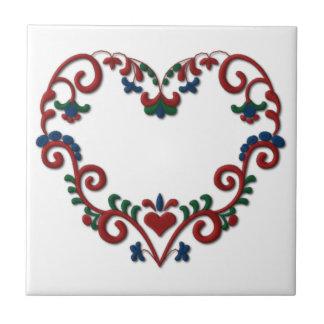 Swedish Norwegian Rosemaling Heart Scandinavian Small Square Tile
