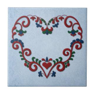 Swedish Norwegian Rosemaling Heart Small Square Tile