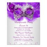 Sweet 16 Lace Mask Purple Silver Masquerade 11 Cm X 14 Cm Invitation Card