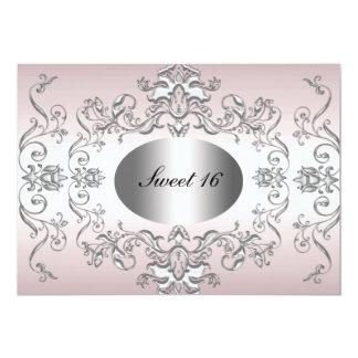 Sweet 16 Pink Silver Elegant Invitation