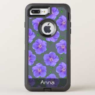Sweet Blue Garden Flowers Pattern any Text OtterBox Defender iPhone 7 Plus Case