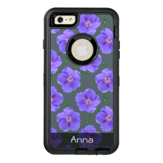 Sweet Blue Garden Flowers Pattern any Text OtterBox iPhone 6/6s Plus Case