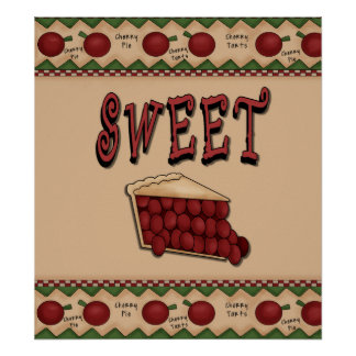 Sweet Cherry Pie with Cherries Border Poster