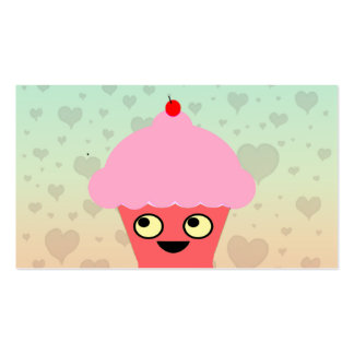 Sweet Kawaii Cupcake on a Hearts Background Pack Of Standard Business Cards
