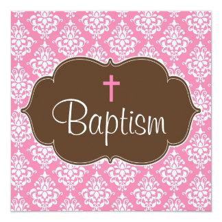 Sweet Pink Brown Damask Cross Girl Baptism 13 Cm X 13 Cm Square Invitation Card