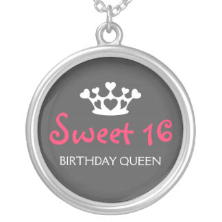 Sweet Sixteen Birthday Queen - Neon Pink and Gray Round Pendant Necklace