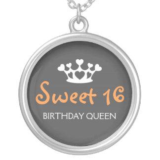 Sweet Sixteen Birthday Queen - Orange and Gray Round Pendant Necklace