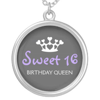 Sweet Sixteen Birthday Queen - Purple and Gray Round Pendant Necklace