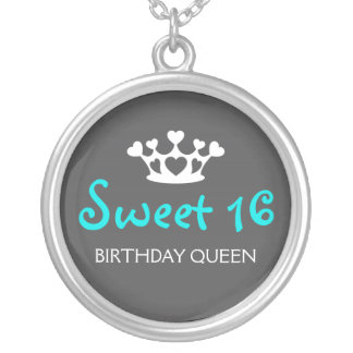 Sweet Sixteen Birthday Queen - Teal and Gray Round Pendant Necklace