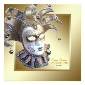 Sweet Sixteen Gold Masquerade Party 13 Cm X 13 Cm Square Invitation Card