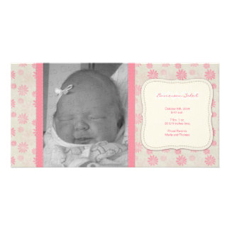Sweet Vintage Floral Birth Announcement Customized Photo Card