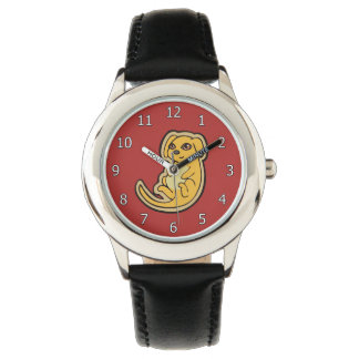 Sweet Yellow And Red Puppy Dog Drawing Design Wrist Watches