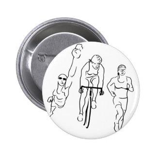 Swim Bike Run Triathlon Woman 6 Cm Round Badge