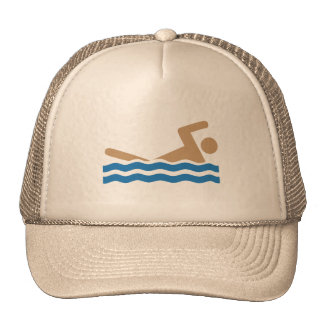 Swimming icon pictograph in color cap