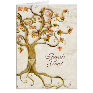 Swirl Tree Roots Antique Tan Custom Thank You Note Note Card
