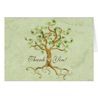 Swirl Tree Roots Antiqued Sage Thank You Note Card