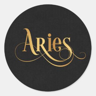 Swirly Script Zodiac Sign Aries Gold on Black Round Sticker