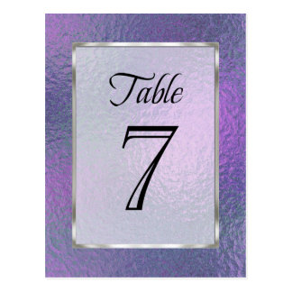 Table Number Purple and Blue Faux Foil Postcard