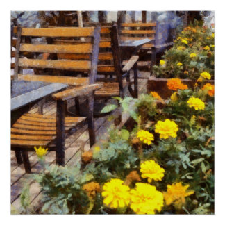 Tables and chairs with flowers