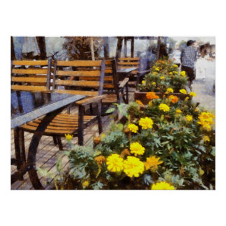 Tables and chairs with flowers poster