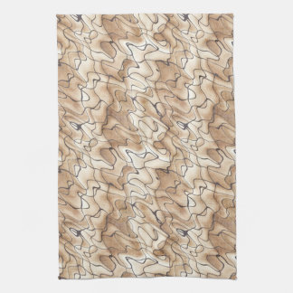 Tan and Beige with Black Squiggly Lines Towels