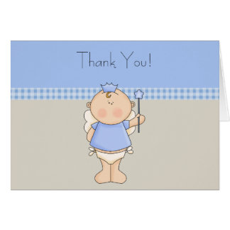 Tan Blue Prince Baby Boy Thank You Cards