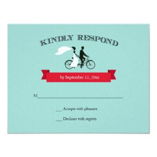 Tandem Bicycle Aqua Wedding RSVP 11 Cm X 14 Cm Invitation Card