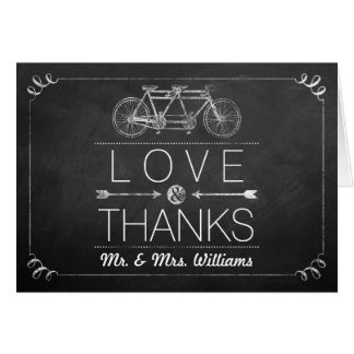 Tandem Bicycle Chalkboard Typography Wedding Note Card