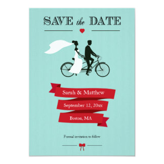 Tandem Bicycle Save the Date Cards 13 Cm X 18 Cm Invitation Card