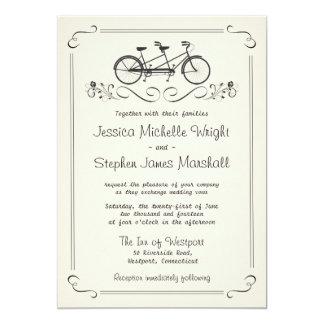 Tandem Bicycle Vintage White Wedding 13 Cm X 18 Cm Invitation Card
