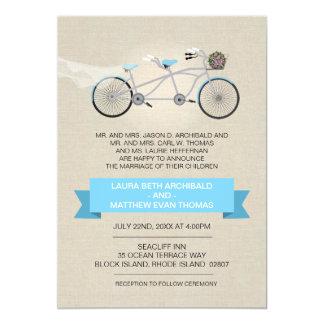 Tandem Bicycle Wedding Faux Linen 13 Cm X 18 Cm Invitation Card